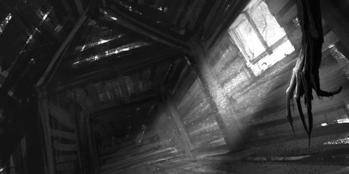 Moster in a dark attic
