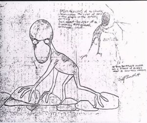 Barlett's drawing of the Dover Demon