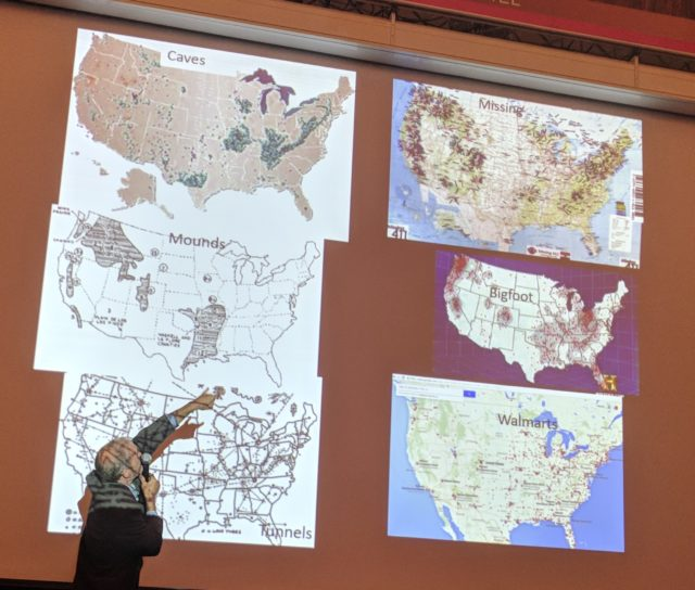 Thom Powell explaining his theories at the 2018 Bigfoot Symposium