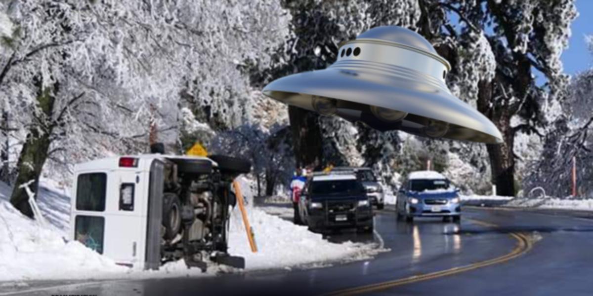 San Bernadino UFO forces van from road